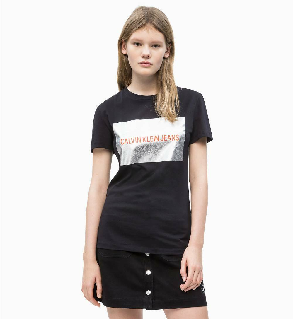 87abe7540 Calvin Klein dámske čierne tričko Silver - Mode.sk