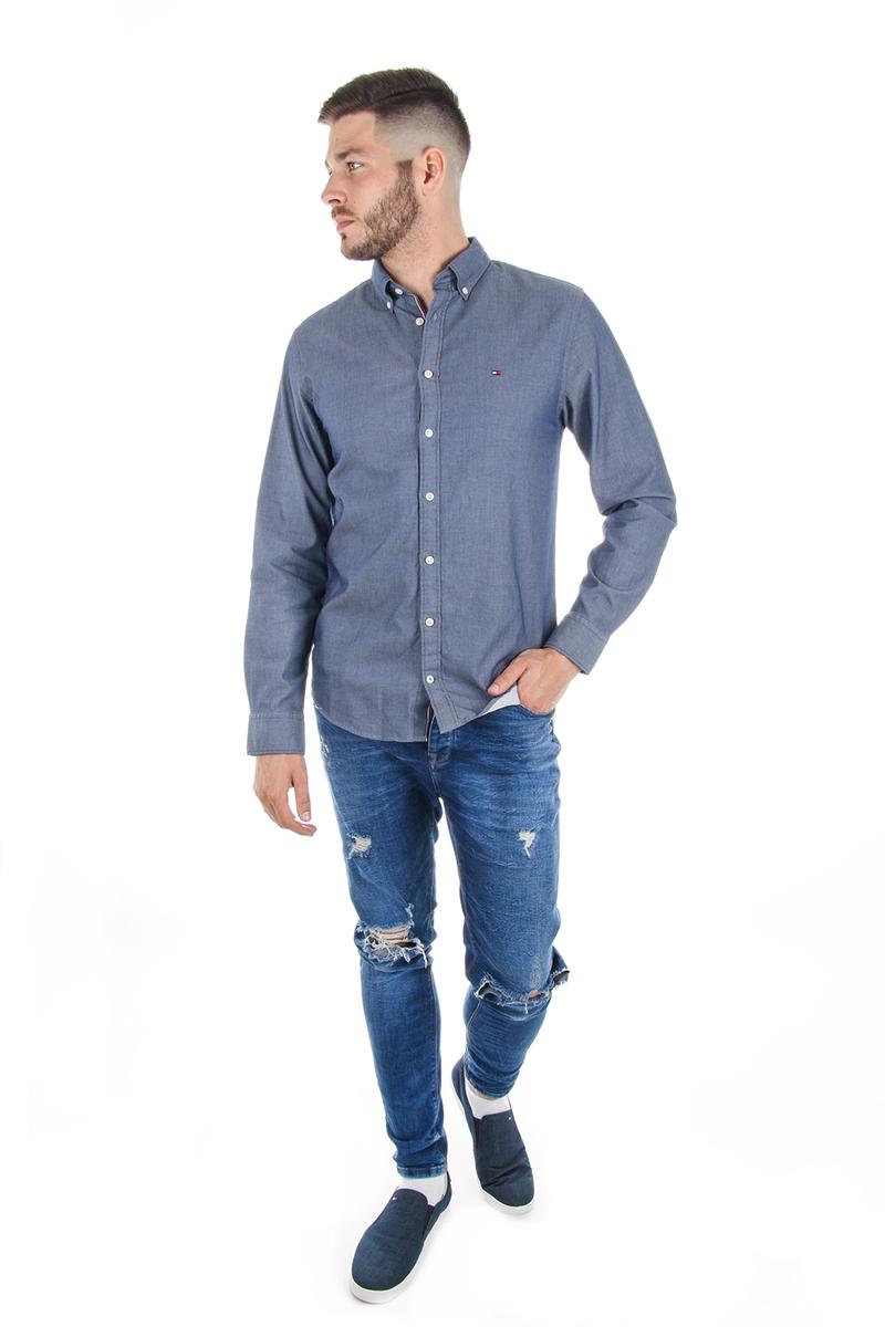 d5e0c3b47b Tommy Hilfiger pánska modrá košeľa Dobby - Mode.sk