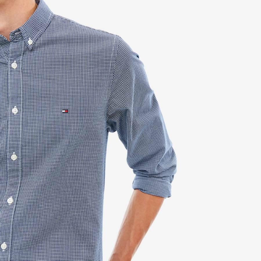 9717f3e0cf5b Tommy Hilfiger pánska tmavo modrá kockovaná košeľa - Mode.sk