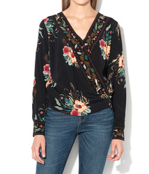 c2ed22424b1a Pepe Jeans dámska čierna blúzka Gladis s kvetinovým vzorom